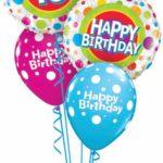 13-as szines, pöttyös héliumos Születésnapi luficsokor
