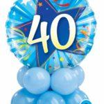 40-es Szülinapi kék asztaldekoráció