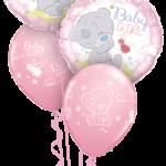 Babaváró mackós pink héliumos luficsokor