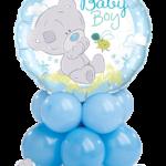 Baby macis kék asztaldekoráció
