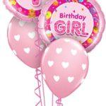 Első szülinapi rózsaszín lufi csokor kislánynak