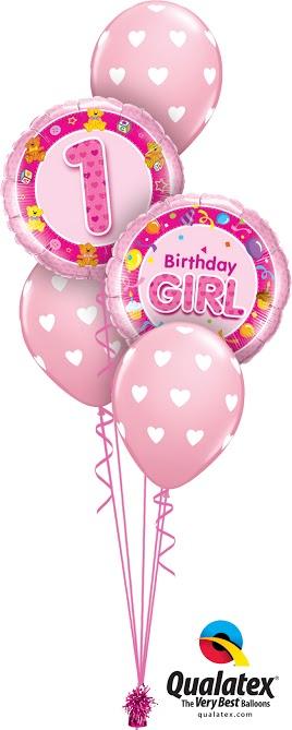 első szülinapi parti kellékek Első szülinapi rózsaszín lufi csokor kislánynak   Smile Balloon  első szülinapi parti kellékek